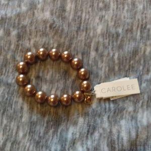 Carolee bronze tone pearl like bracelet NWT